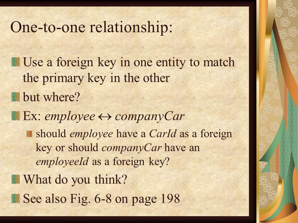 One-to-one relationship: Use a foreign key in one entity to match the primary key in the other but where.