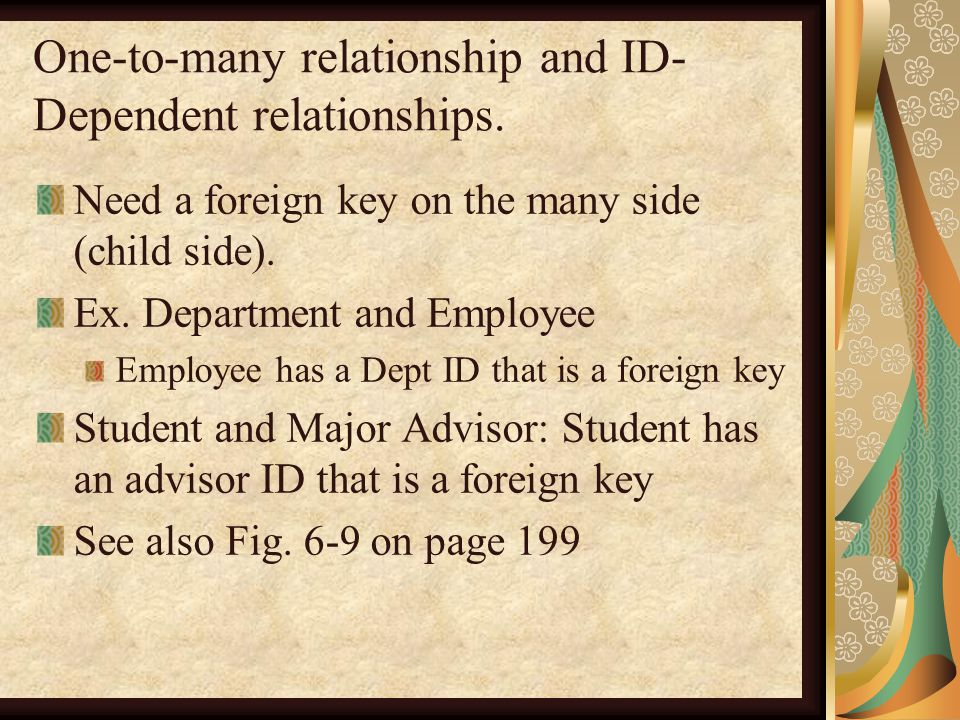 One-to-many relationship and ID- Dependent relationships.