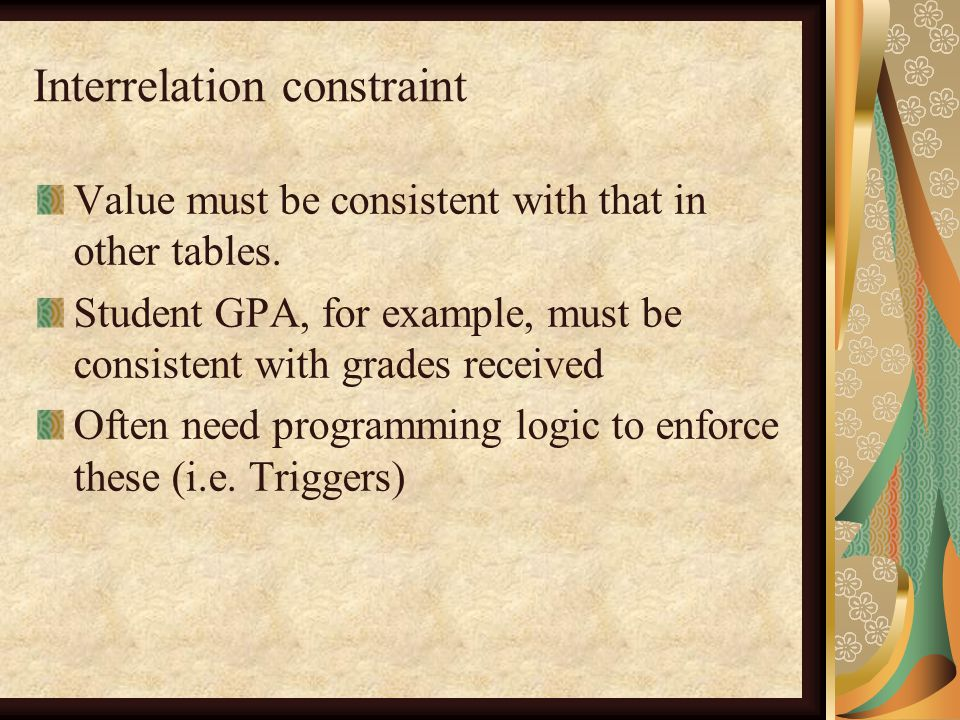 Interrelation constraint Value must be consistent with that in other tables.