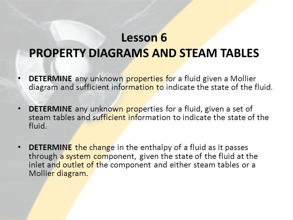 Lesson 6 PROPERTY DIAGRAMS AND STEAM TABLES DETERMINE any unknown properties for a fluid given a Mollier diagram and sufficient information to indicat