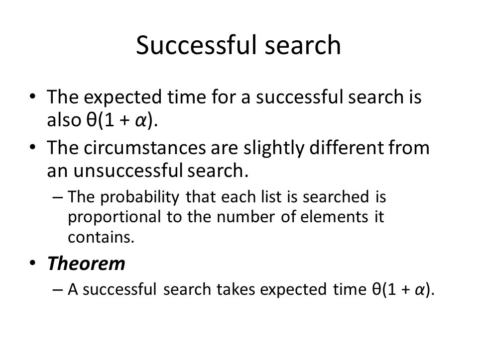 Successful search The expected time for a successful search is also θ(1 + α). The circumstances are slightly different from an unsuccessful search. –