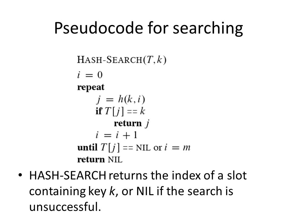 Pseudocode for searching HASH-SEARCH returns the index of a slot containing key k, or NIL if the search is unsuccessful.