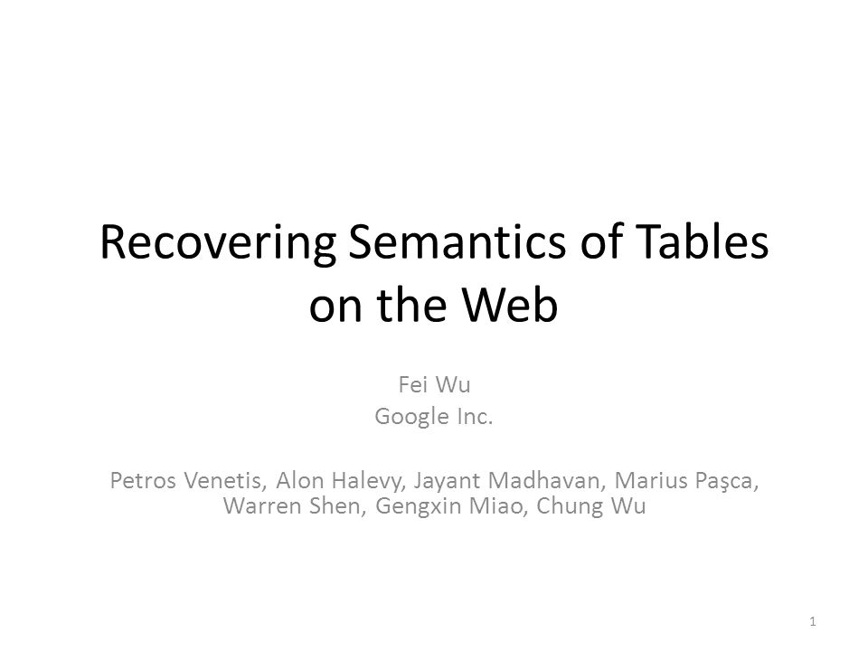 Recovering Semantics of Tables on the Web Fei Wu Google Inc.