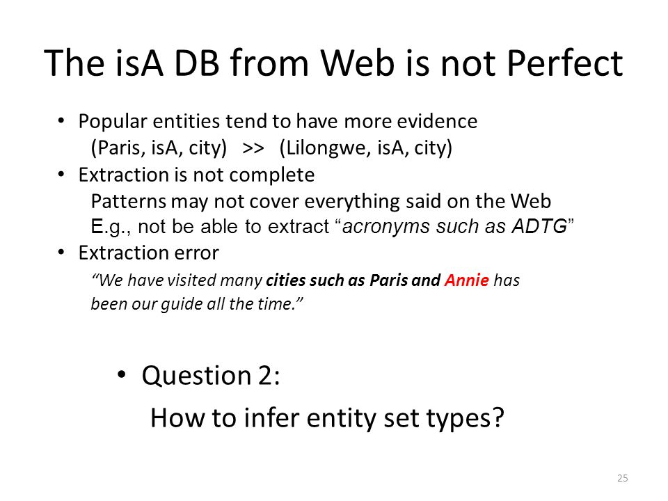The isA DB from Web is not Perfect Popular entities tend to have more evidence (Paris, isA, city) >> (Lilongwe, isA, city) Extraction is not complete Patterns may not cover everything said on the Web E.g., not be able to extract acronyms such as ADTG Extraction error We have visited many cities such as Paris and Annie has been our guide all the time.