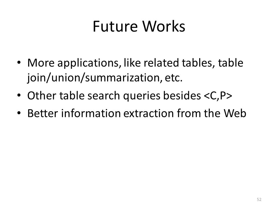 Future Works More applications, like related tables, table join/union/summarization, etc.