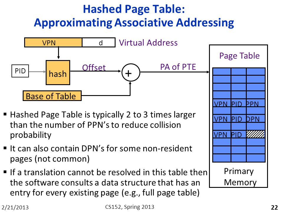 2/21/2013 CS152, Spring 2013 Hashed Page Table: Approximating Associative Addressing Hashed Page Table is typically 2 to 3 times larger than the number of PPNs to reduce collision probability It can also contain DPNs for some non-resident pages (not common) If a translation cannot be resolved in this table then the software consults a data structure that has an entry for every existing page (e.g., full page table) 22 hash Offset Base of Table + PA of PTE Primary Memory VPN PID PPN Page Table VPNd Virtual Address VPN PID DPN VPN PID PID