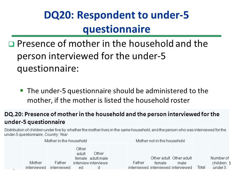 DQ20: Respondent to under-5 questionnaire Presence of mother in the household and the person interviewed for the under-5 questionnaire: The under-5 questionnaire should be administered to the mother, if the mother is listed the household roster 23 DQ.20: Presence of mother in the household and the person interviewed for the under-5 questionnaire Distribution of children under five by whether the mother lives in the same household, and the person who was interviewed for the under-5 questionnaire, Country, Year Mother in the householdMother not in the household Total Number of children under 5 Mother interviewed Father interviewed Other adult female interview ed Other adult male interviewe d Father interviewed Other adult female interviewed Other adult male interviewed