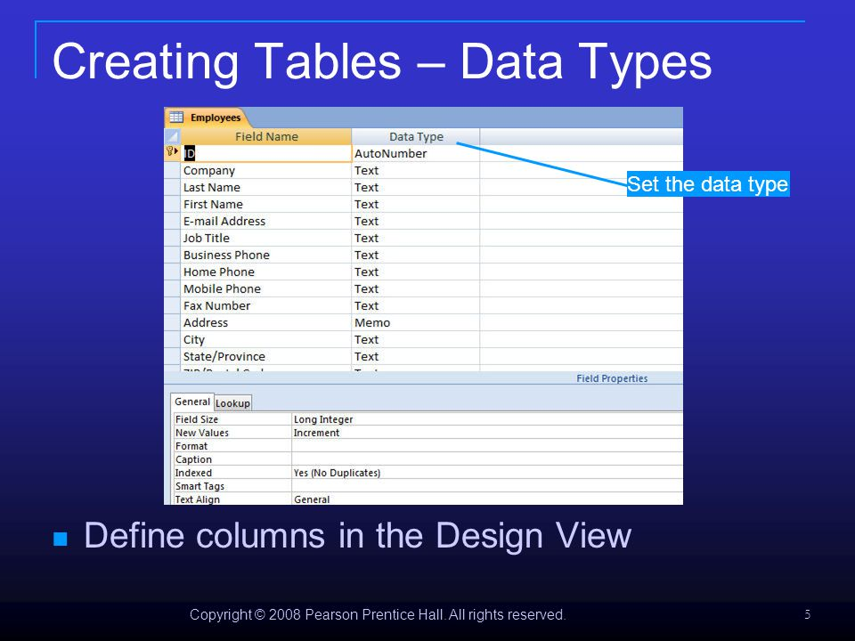 Data Types in Access 2007 Data typeUseNote Text Use for alphanumeric characters, including text, or text and numbers, that are not used in calculations (for example, a product ID).