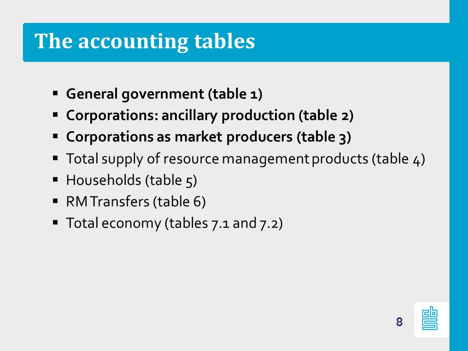 The accounting tables General government (table 1) Corporations: ancillary production (table 2) Corporations as market producers (table 3) Total suppl