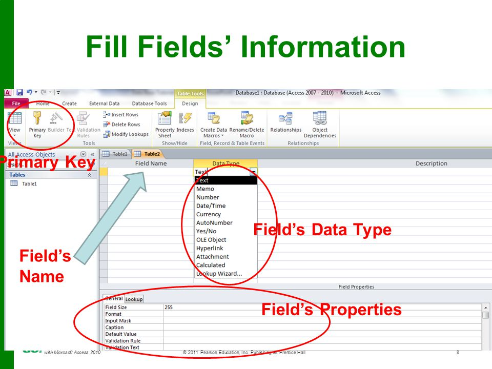 with Microsoft Access 2010 © 2011 Pearson Education, Inc. Publishing as Prentice Hall8 Fill Fields Information Fields Name Fields Data Type Fields Pro