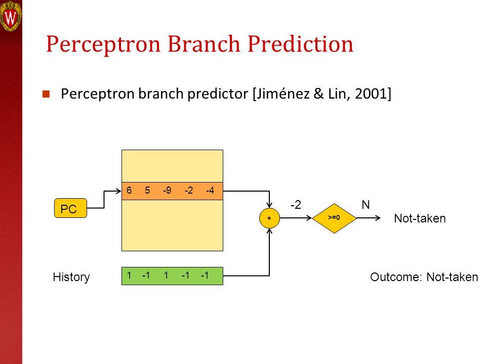 Perceptron Branch Prediction Perceptron branch predictor [Jiménez & Lin, 2001] 7 4 -8 -3 -5 PC 1 -1 1 -1 -1 History * >=0 3Y Taken 6 5 -9 -2 -4 -2N No