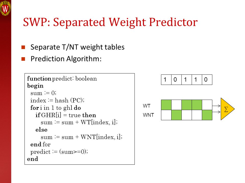 SWP: Separated Weight Predictor Separate T/NT weight tables Prediction Algorithm: function predict: boolean begin sum := 0; index := hash (PC); for i in 1 to ghl do if GHR[i] = true then sum := sum + WT[index, i]; else sum := sum + WNT[index, i]; end for predict := (sum>=0); end 10110 WT WNT
