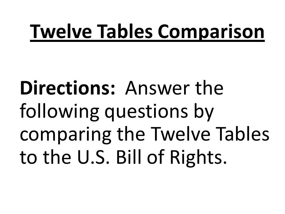 Twelve Tables Comparison Directions: Answer the following questions by comparing the Twelve Tables to the U.S.