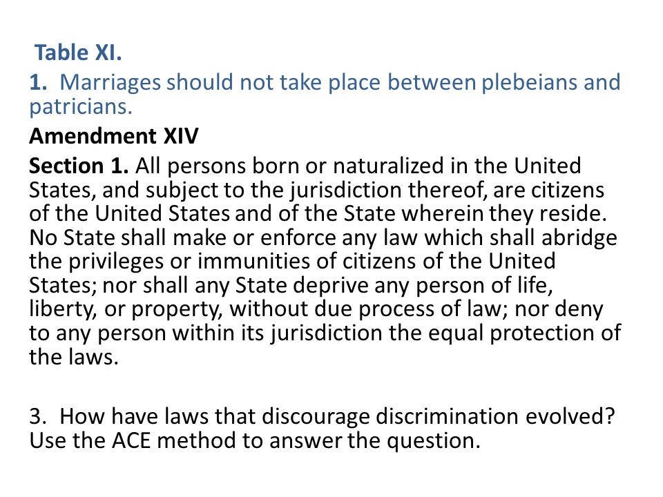 Table XI. 1. Marriages should not take place between plebeians and patricians.