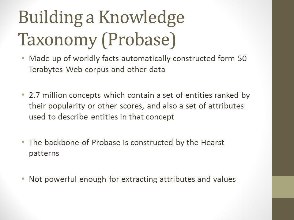 Building a Knowledge Taxonomy (Probase) Made up of worldly facts automatically constructed form 50 Terabytes Web corpus and other data 2.7 million concepts which contain a set of entities ranked by their popularity or other scores, and also a set of attributes used to describe entities in that concept The backbone of Probase is constructed by the Hearst patterns Not powerful enough for extracting attributes and values