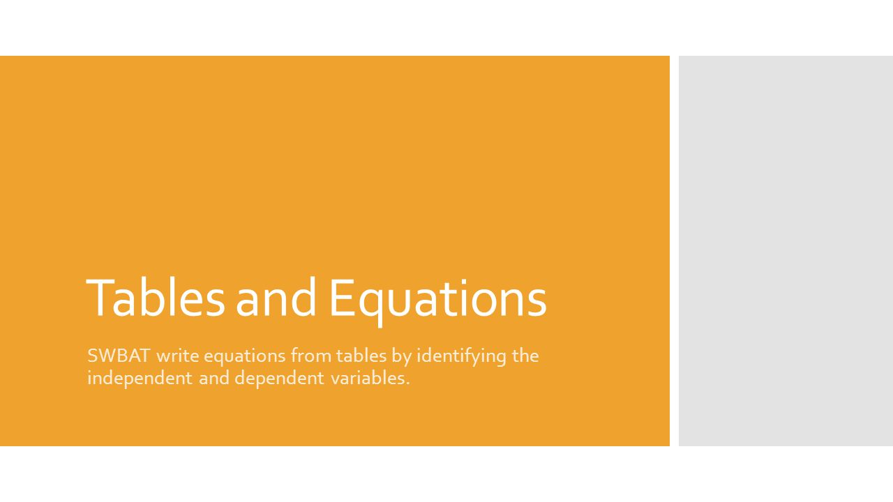 Tables and Equations SWBAT write equations from tables by identifying the independent and dependent variables.