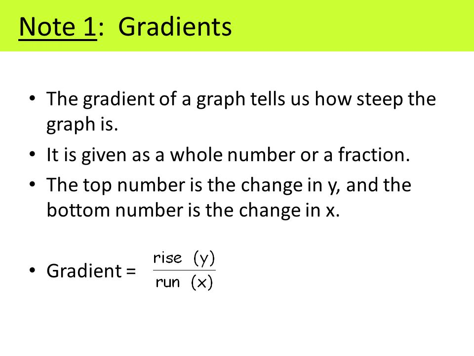 Note 1: Gradients The gradient of a graph tells us how steep the graph is.