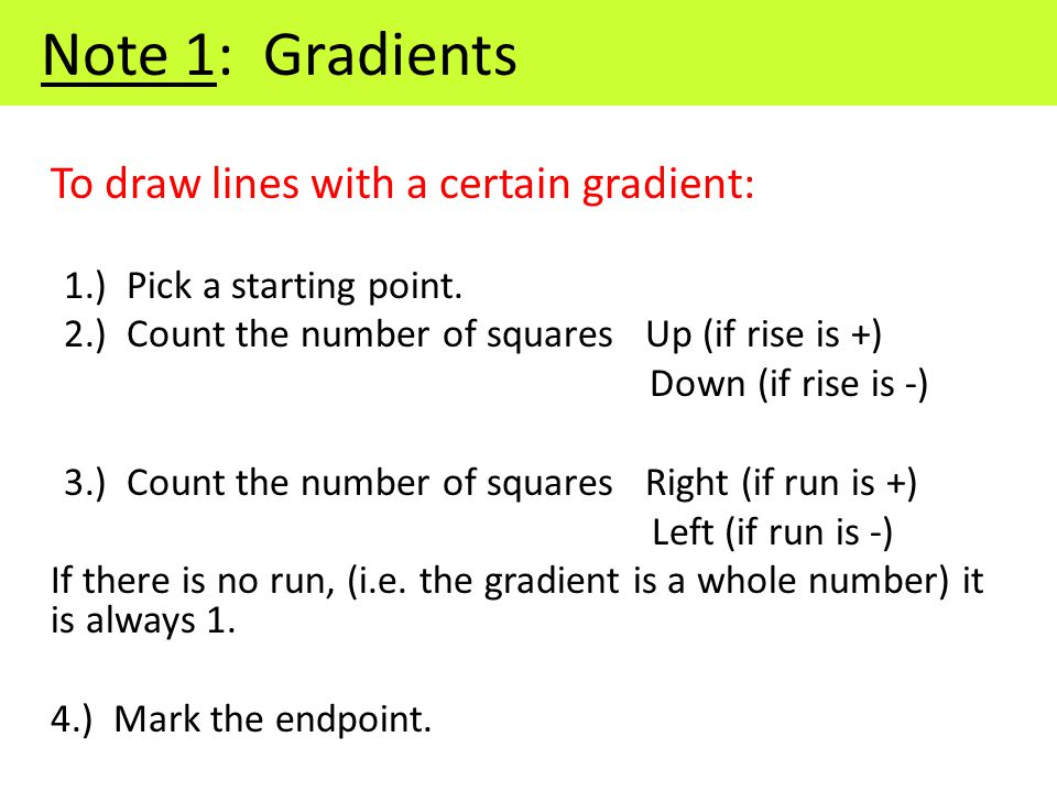 To draw lines with a certain gradient: 1.) Pick a starting point.