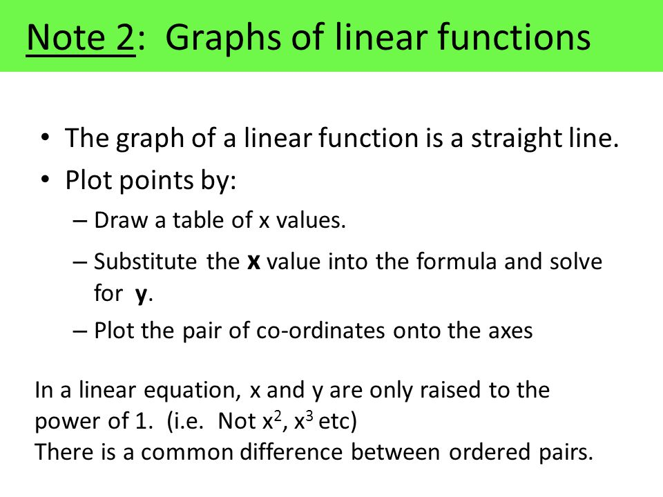 Note 2: Graphs of linear functions The graph of a linear function is a straight line.