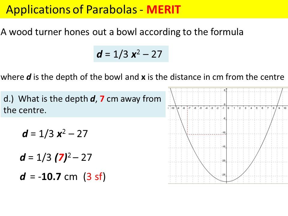 Applications of Parabolas - MERIT A wood turner hones out a bowl according to the formula where d is the depth of the bowl and x is the distance in cm from the centre d = 1/3 x 2 – 27 d.) What is the depth d, 7 cm away from the centre.