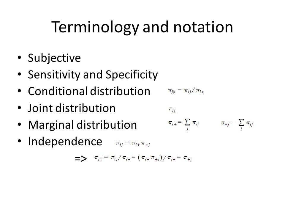 Terminology and notation Subjective Sensitivity and Specificity Conditional distribution Joint distribution Marginal distribution Independence =>