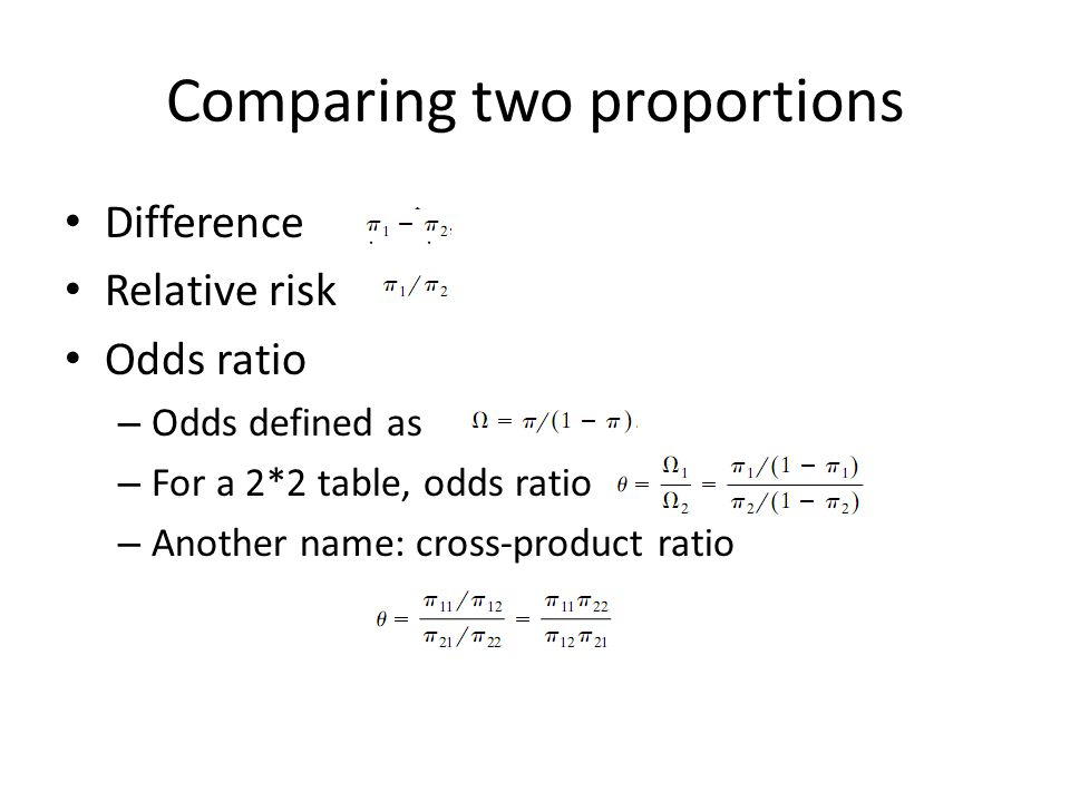 Comparing two proportions Difference Relative risk Odds ratio – Odds defined as – For a 2*2 table, odds ratio – Another name: cross-product ratio