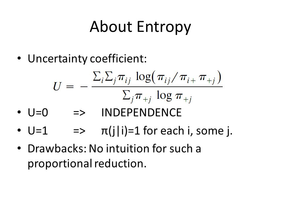 About Entropy Uncertainty coefficient: U=0=>INDEPENDENCE U=1=>π(j|i)=1 for each i, some j.