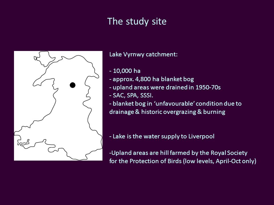 The study site Lake Vyrnwy catchment: - 10,000 ha - approx.