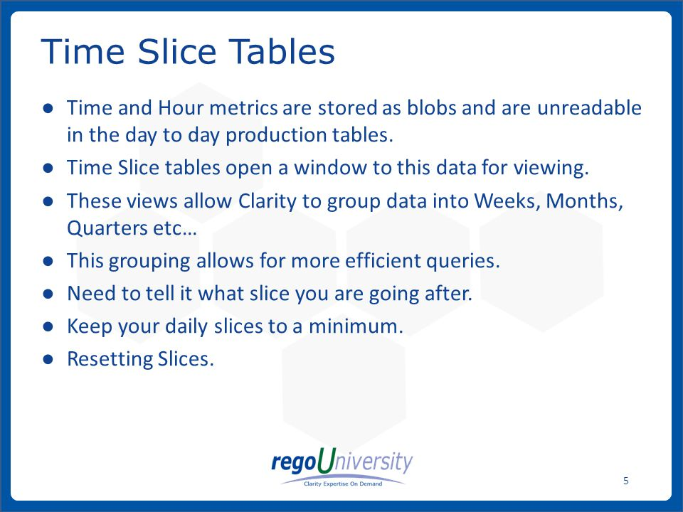 www.regoconsulting.comPhone: 1-888-813-0444 5 Time and Hour metrics are stored as blobs and are unreadable in the day to day production tables.