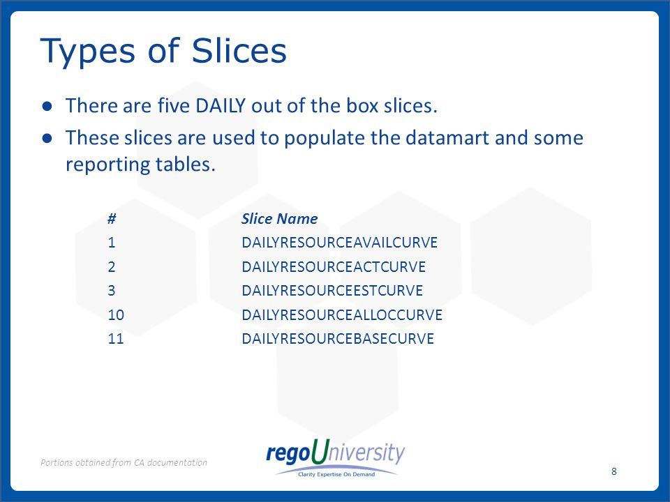 www.regoconsulting.comPhone: 1-888-813-0444 8 There are five DAILY out of the box slices.