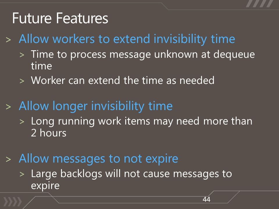 Future Features 44 > Allow workers to extend invisibility time > Time to process message unknown at dequeue time > Worker can extend the time as neede