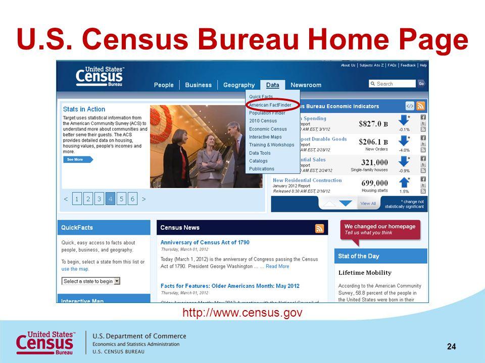 U.S. Census Bureau Home Page http://www.census.gov 24