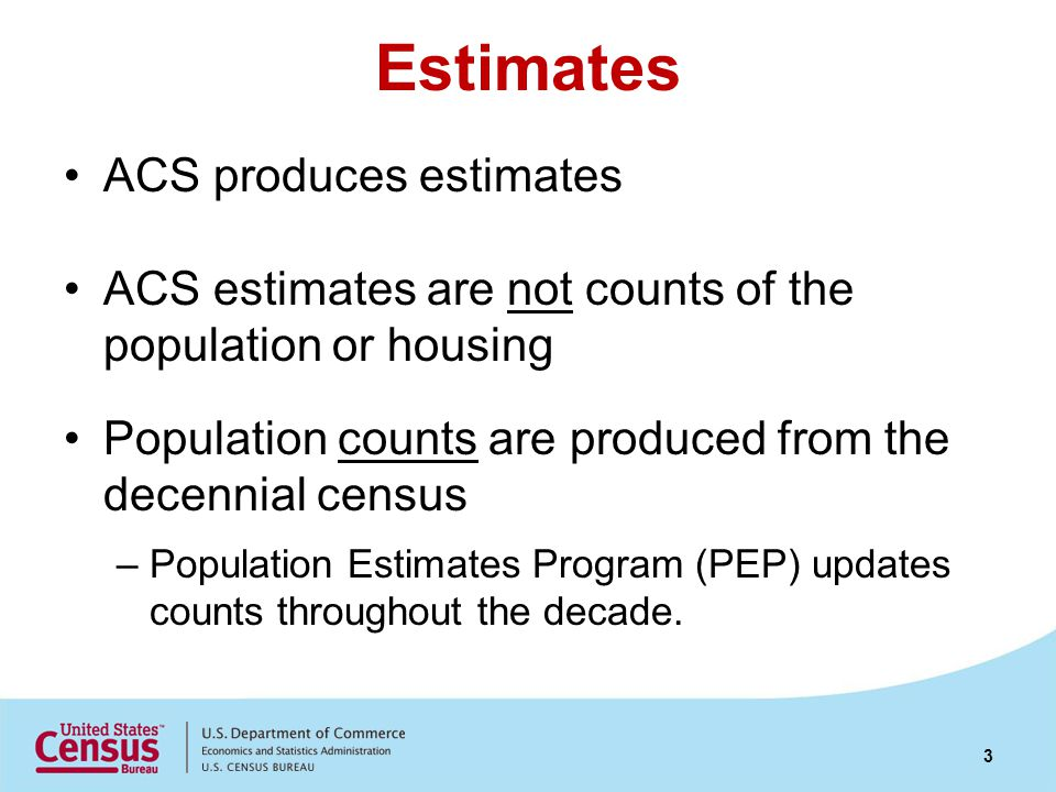 Period Estimates ACS estimates are period estimates Period estimates describe the average characteristics over a specific time period Contrast with point-in-time estimates that describe characteristics as of a specific date 4
