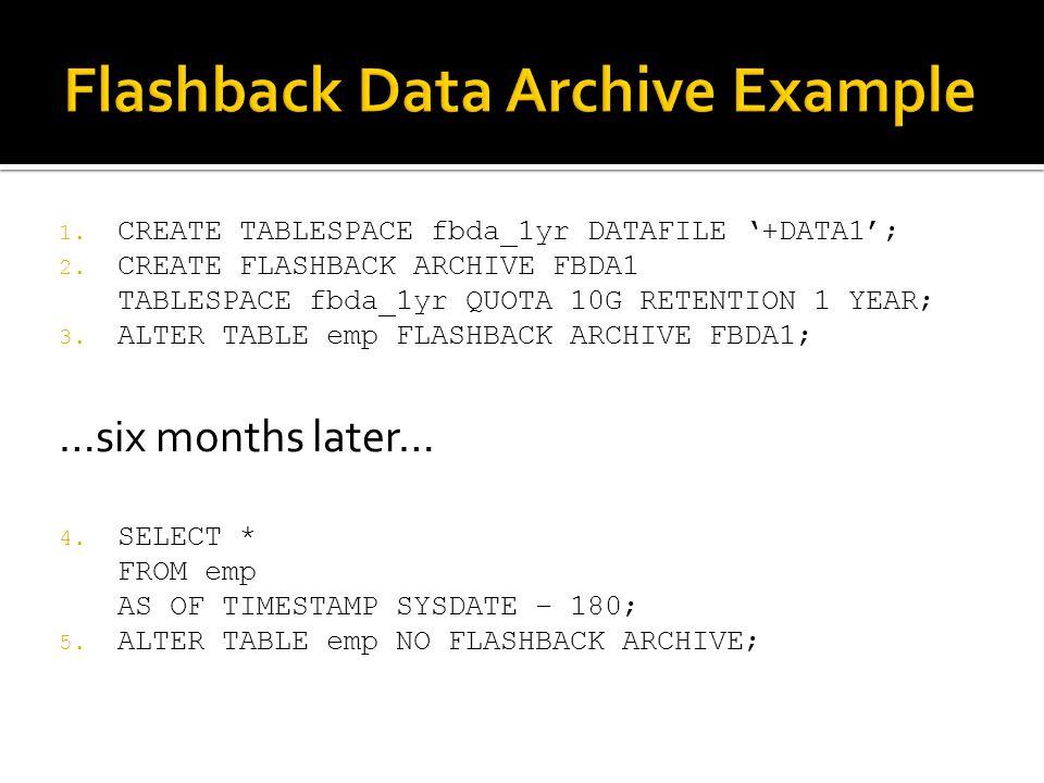 1. CREATE TABLESPACE fbda_1yr DATAFILE +DATA1; 2.