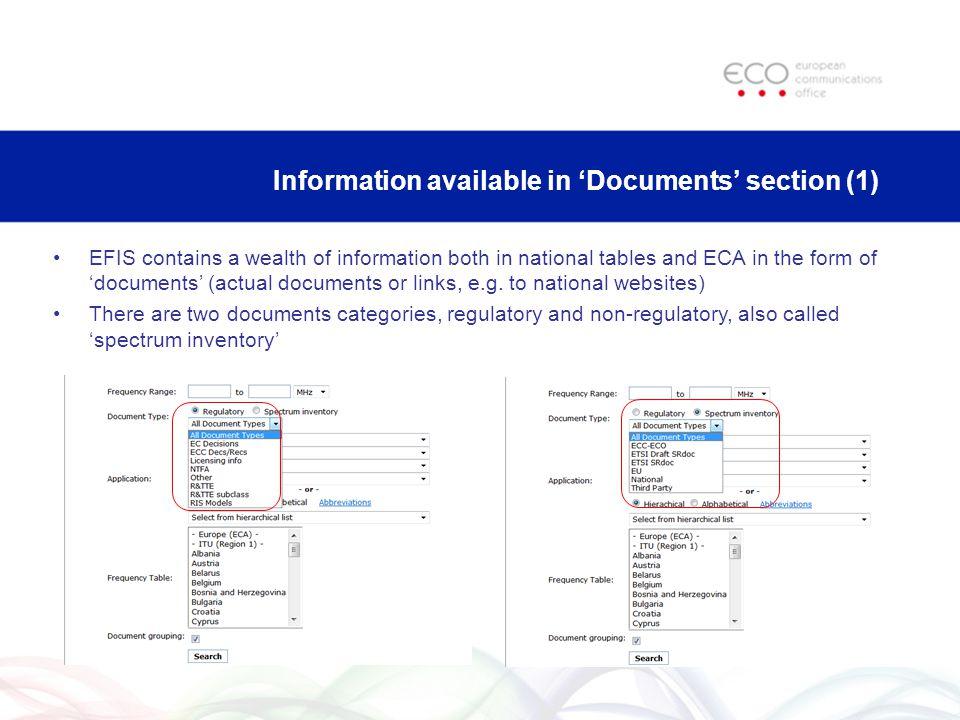 Information available in Documents section (2) Regulatory type documents: –EC Decisions: relevant Decisions of the European Commission –ECC Decs/Recs: ECC Deliverables, i.e.