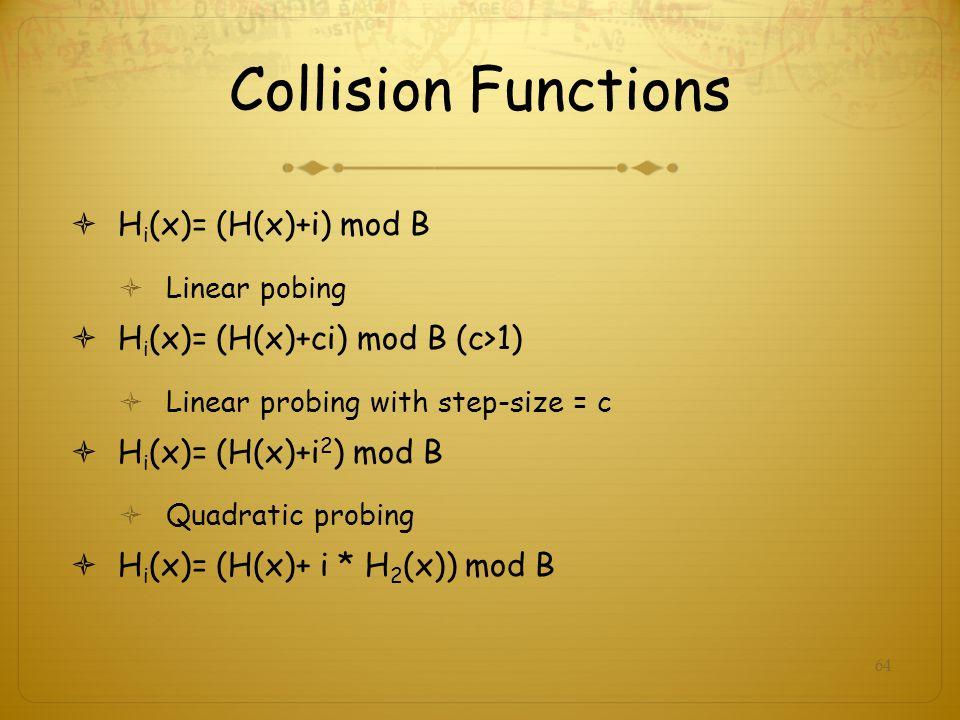 64 Collision Functions H i (x)= (H(x)+i) mod B Linear pobing H i (x)= (H(x)+ci) mod B (c>1) Linear probing with step-size = c H i (x)= (H(x)+i 2 ) mod B Quadratic probing H i (x)= (H(x)+ i * H 2 (x)) mod B