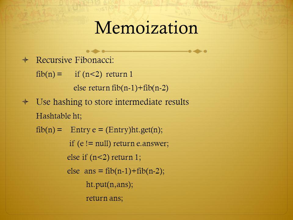 Memoization Recursive Fibonacci: fib(n) = if (n<2) return 1 else return fib(n-1)+fib(n-2) Use hashing to store intermediate results Hashtable ht; fib(n) = Entry e = (Entry)ht.get(n); if (e != null) return e.answer; else if (n<2) return 1; else ans = fib(n-1)+fib(n-2); ht.put(n,ans); return ans;