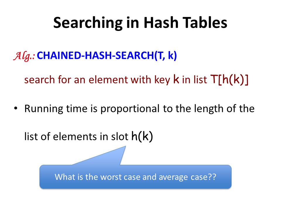 Searching in Hash Tables Alg.: CHAINED-HASH-SEARCH(T, k) search for an element with key k in list T[h(k)] Running time is proportional to the length o
