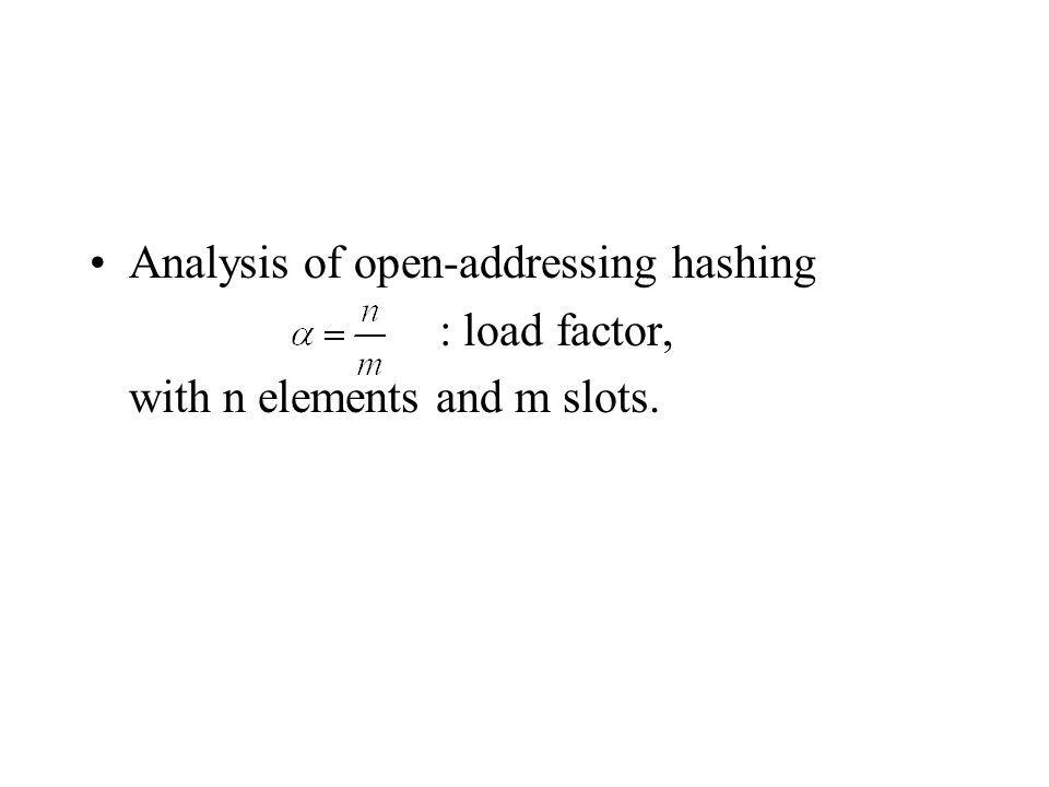 Analysis of open-addressing hashing : load factor, with n elements and m slots.