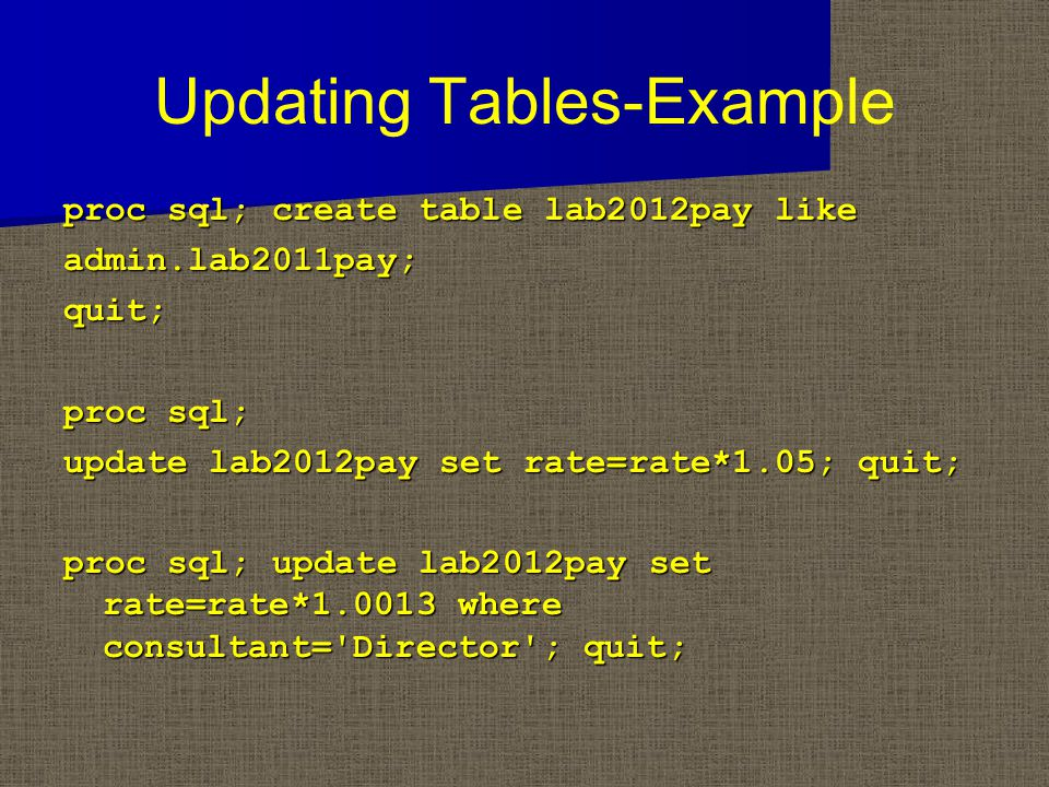 Updating Tables-Example proc sql; create table lab2012pay like admin.lab2011pay;quit; proc sql; update lab2012pay set rate=rate*1.05; quit; proc sql; update lab2012pay set rate=rate*1.0013 where consultant= Director ; quit;