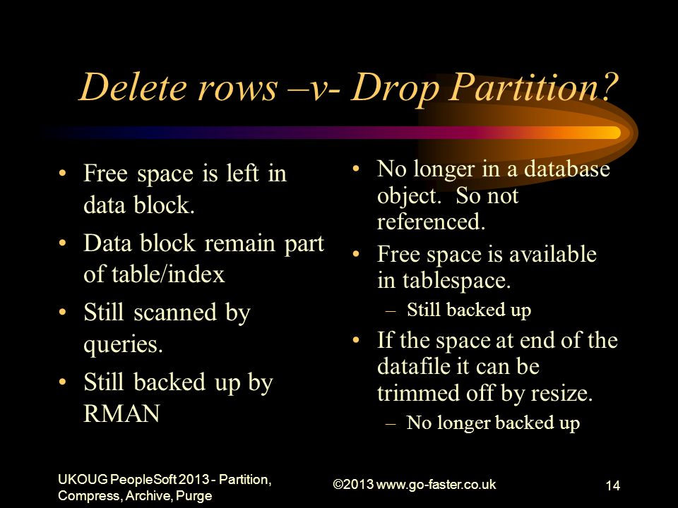 Delete rows –v- Drop Partition. Free space is left in data block.
