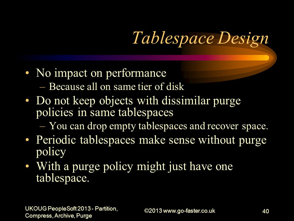 Tablespace Design No impact on performance –Because all on same tier of disk Do not keep objects with dissimilar purge policies in same tablespaces –You can drop empty tablespaces and recover space.