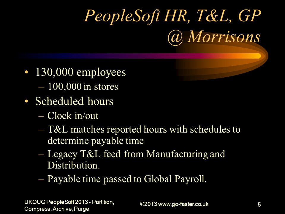 PeopleSoft HR, T&L, GP @ Morrisons 130,000 employees –100,000 in stores Scheduled hours –Clock in/out –T&L matches reported hours with schedules to determine payable time –Legacy T&L feed from Manufacturing and Distribution.