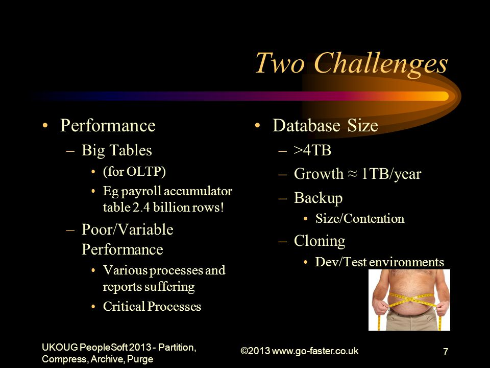 Two Challenges Performance –Big Tables (for OLTP) Eg payroll accumulator table 2.4 billion rows.