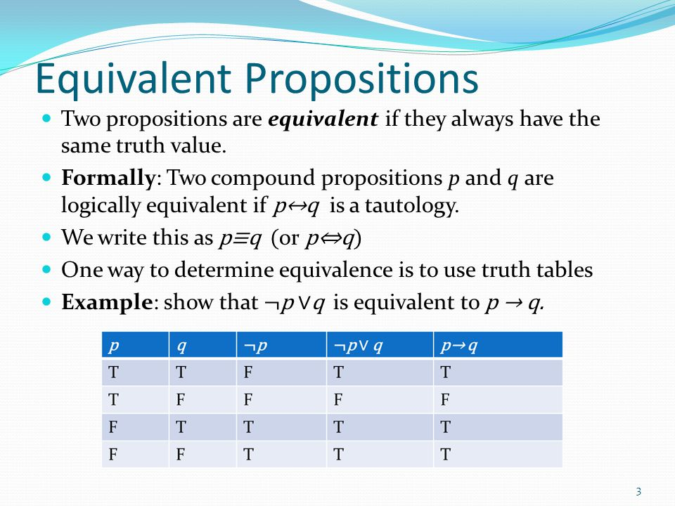 Equivalent Propositions Example: Show using truth tables that that implication is equivalent to its contrapositive Solution: 4