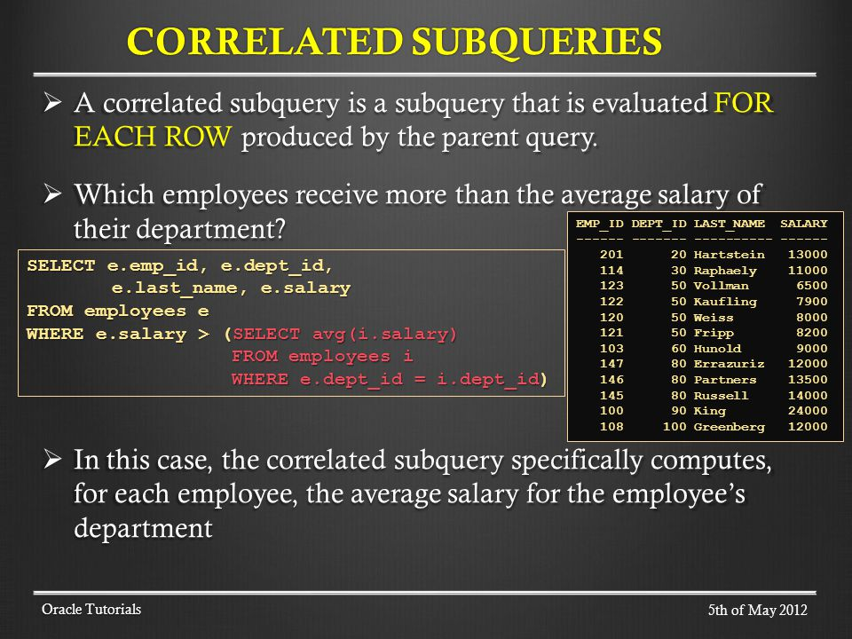 A correlated subquery is a subquery that is evaluated FOR EACH ROW produced by the parent query. A correlated subquery is a subquery that is evaluated