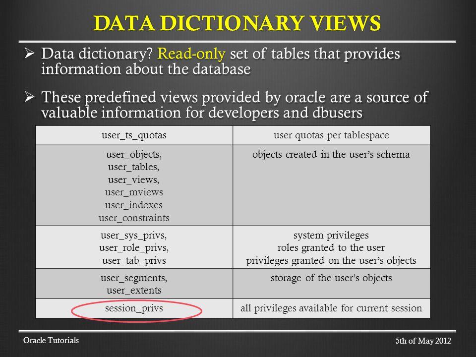 Data dictionary.