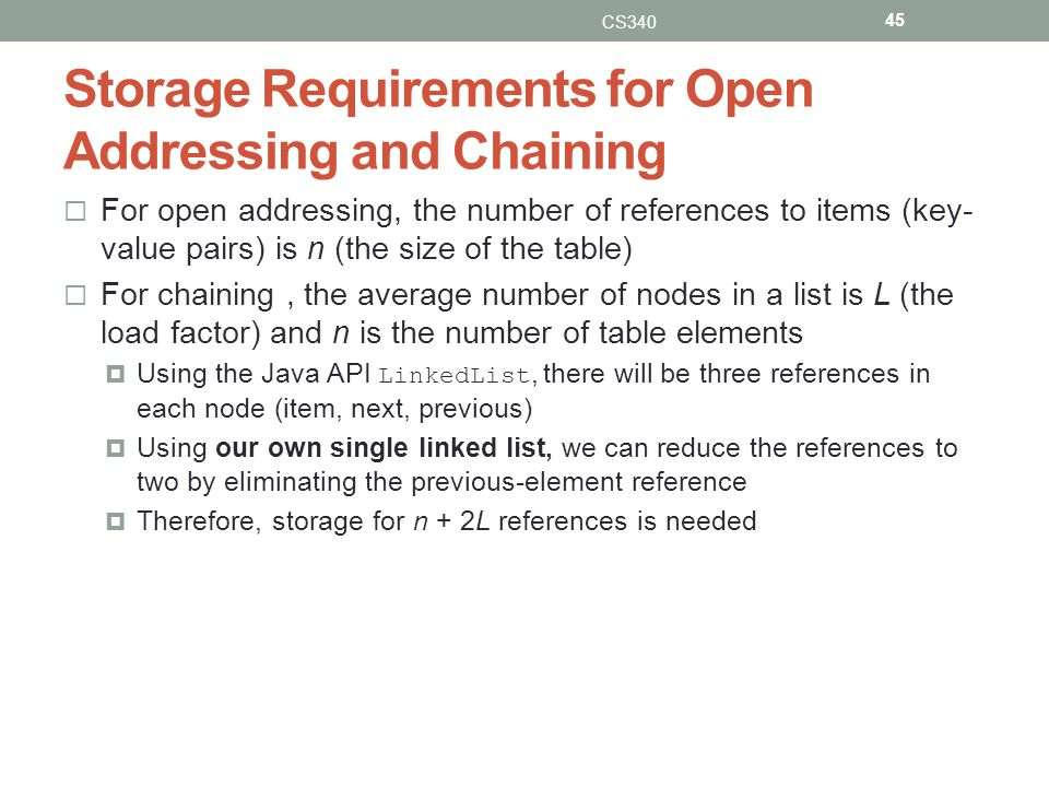 Storage Requirements for Open Addressing and Chaining For open addressing, the number of references to items (key- value pairs) is n (the size of the table) For chaining, the average number of nodes in a list is L (the load factor) and n is the number of table elements Using the Java API LinkedList, there will be three references in each node (item, next, previous) Using our own single linked list, we can reduce the references to two by eliminating the previous-element reference Therefore, storage for n + 2L references is needed CS340 45