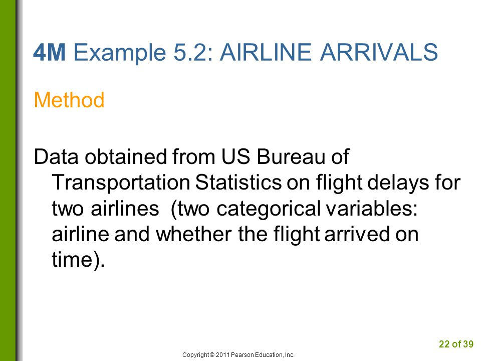 4M Example 5.2: AIRLINE ARRIVALS Method Data obtained from US Bureau of Transportation Statistics on flight delays for two airlines (two categorical variables: airline and whether the flight arrived on time).