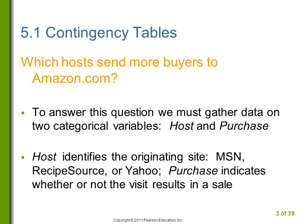 5.1 Contingency Tables Which hosts send more buyers to Amazon.com.